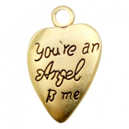 "Breloques en métal TQ cœur ""you're an angel to me"" doré (sans nickel)"