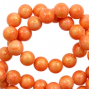 Pierres naturelles Jade rond 6mm doré-orange mandarine