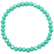 Bracelets perles à facettes 6x4mm Turquoise green-pearl shine coating