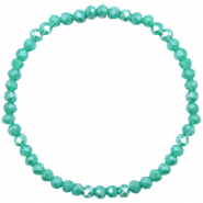 Bracelets perles à facettes 4x3mm Turquoise green-pearl shine coating