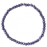 Bracelets perles à facettes 4x3mm Violet raisin-pearl shine coating