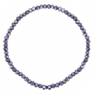 Bracelets perles à facettes 3x2mm Violet raisin-pearl shine coating