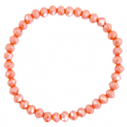 Bracelets perles à facettes 6x4mm Orange épicé-pearl shine coating