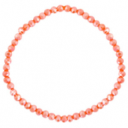 Bracelets perles à facettes 4x3mm Orange épicé-pearl shine coating