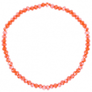 Bracelets perles à facettes 3x2mm Orange épicé-pearl shine coating