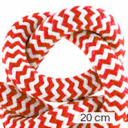Cordelette style marin 10mm (4x20cm) Blanc-rouge