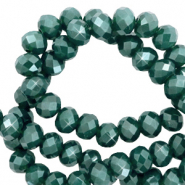 Perles à facettes 8x6mm disque Heishi Vert paon-pearl shine coating