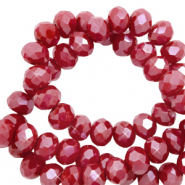 Perles à facettes 6x4mm disque Heishi Rouge grenat-pearl shine coating