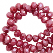 Perles à facettes 4x3mm disque Heishi Rouge grenat-pearl shine coating