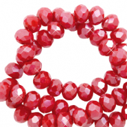 Perles à facettes 6x4mm disque Heishi Rouge samba-pearl shine coating