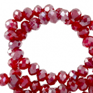 Perles à facettes 4x3mm disque Heishi Rouge siam clair-pearl shine coating