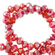 Perles à facettes 3x2mm disque Heishi Rouge siam clair-pearl shine coating