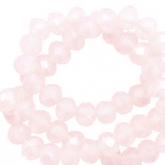 Perles à facettes 4x3mm disque Heishi Rose doux opale-pearl shine coating